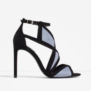 Zara Suede Wrap High Heel Black & Blue Sandal